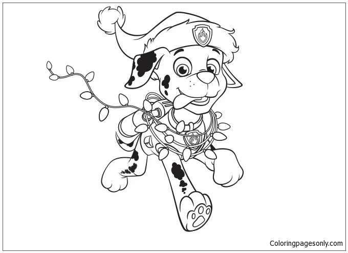 Paw Patrol Marshall Christmas Coloring Page