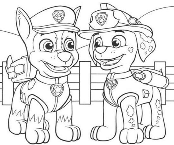 Paw Patrol Marshall Talking With Chase  Coloring Page