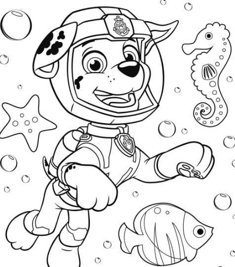 Skye Marshall and Rocky Coloring Page Free Coloring Pages Online