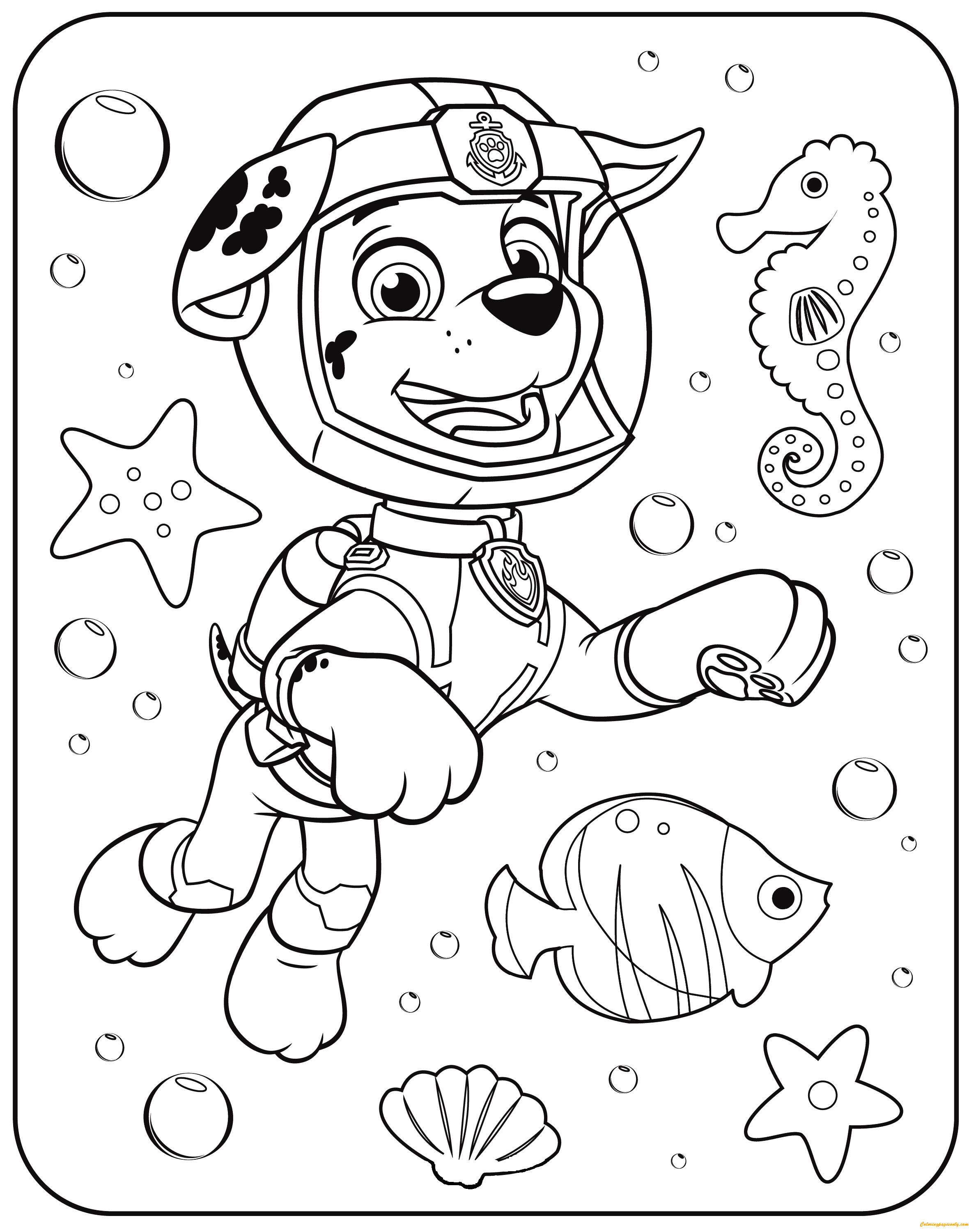 paw patrol marshall underwater coloring page - Underwater Coloring Pages