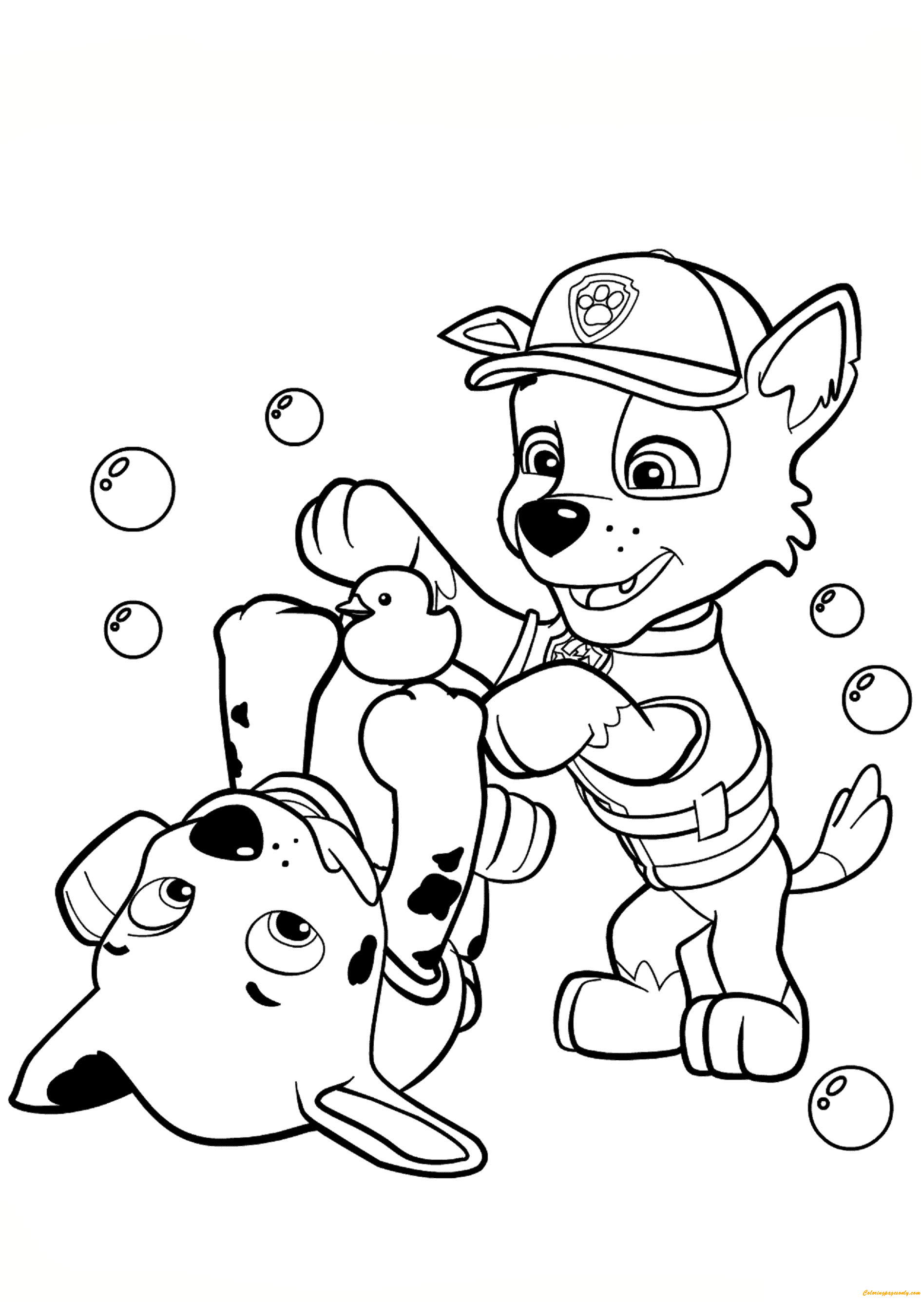 Paw Patrol Rocky And Marshall Coloring Page Free