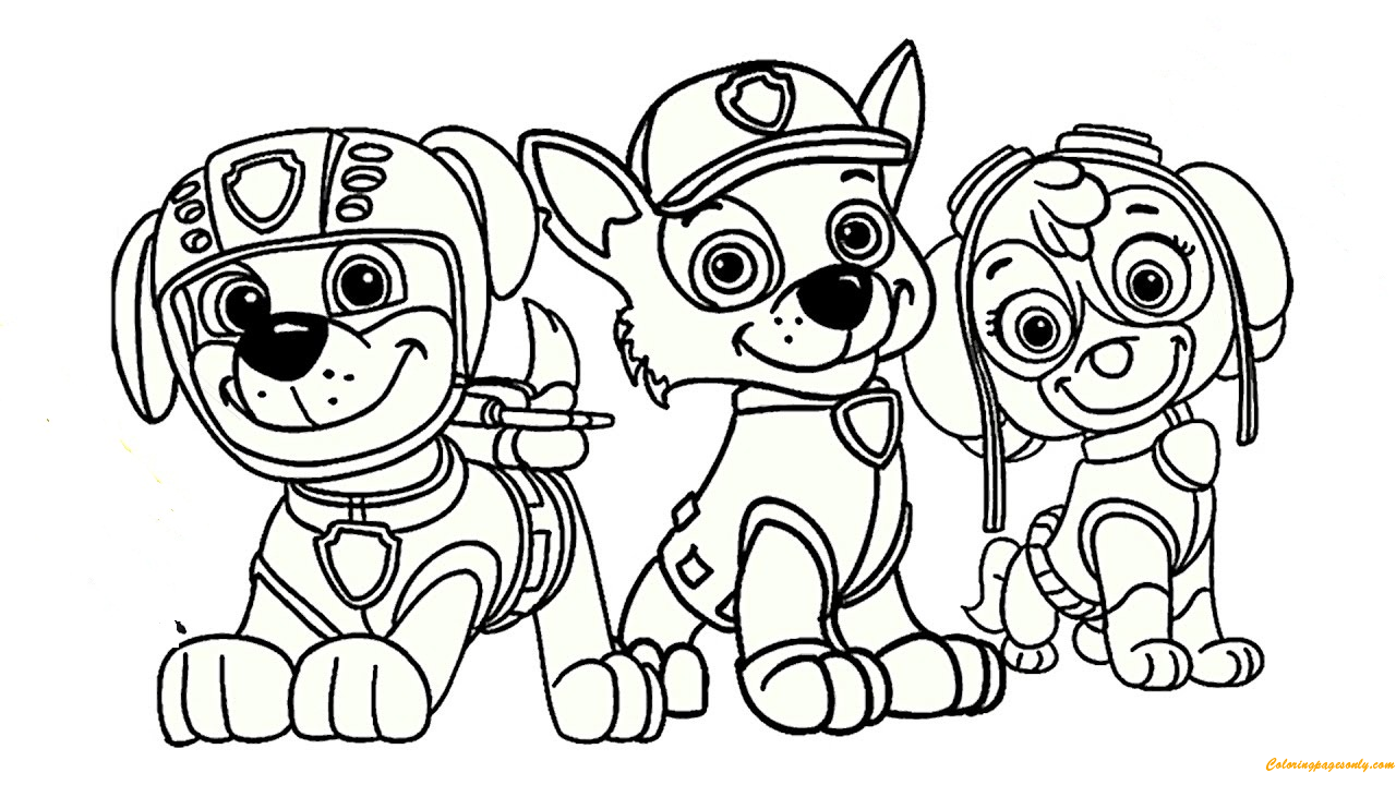 Paw Patrol Rocky Skye And Zuma Coloring Page Free