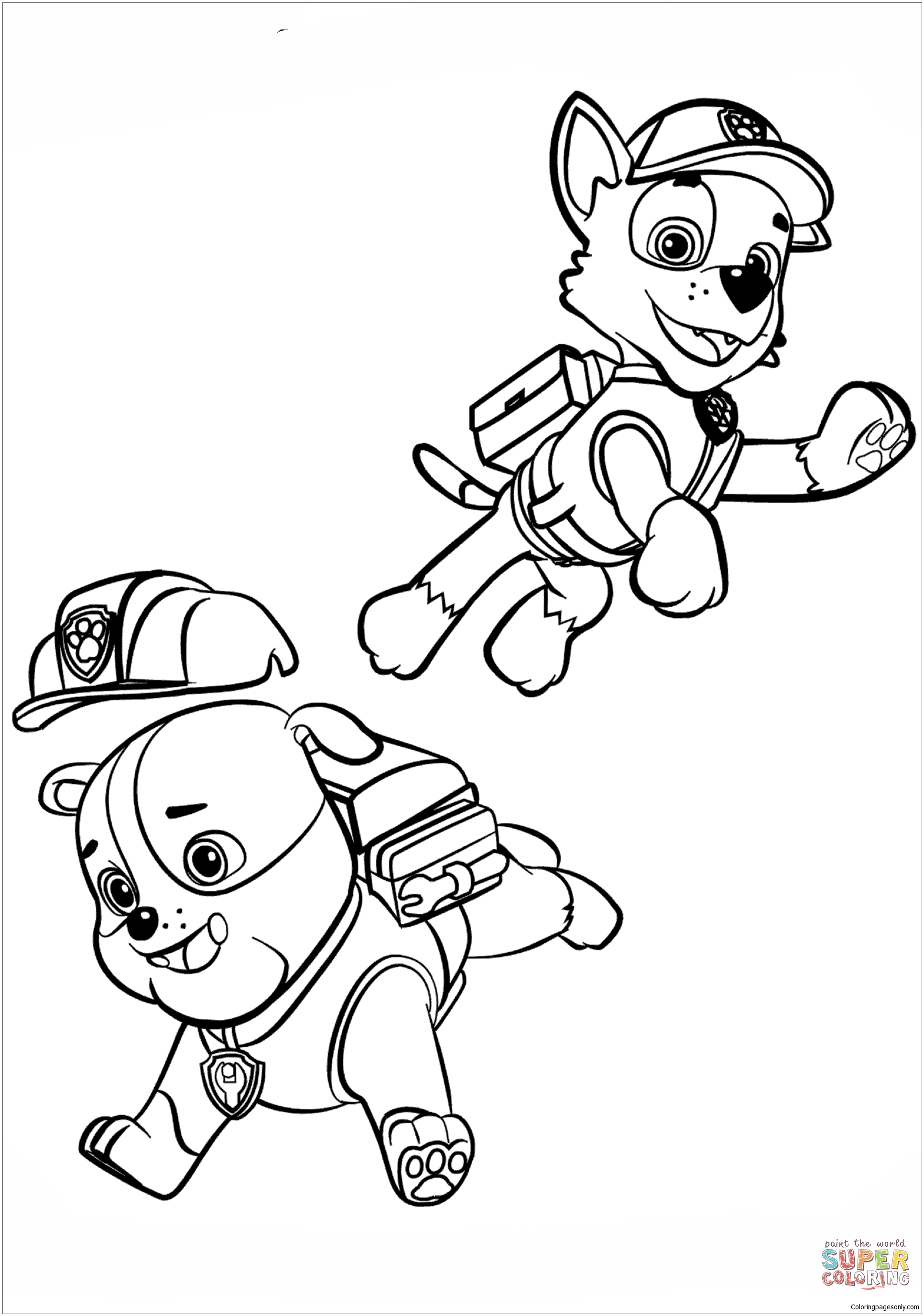 Paw Patrol Rubble And Rocky Coloring Page Free Coloring