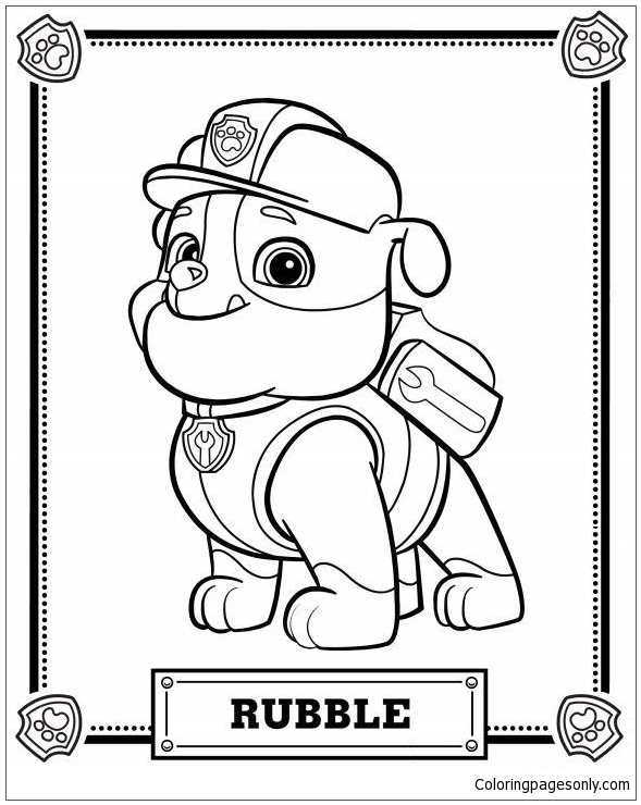 Paw Patrol Rubble Printable Coloring Pages - Cartoons Coloring Pages - Free  Printable Coloring Pages Online