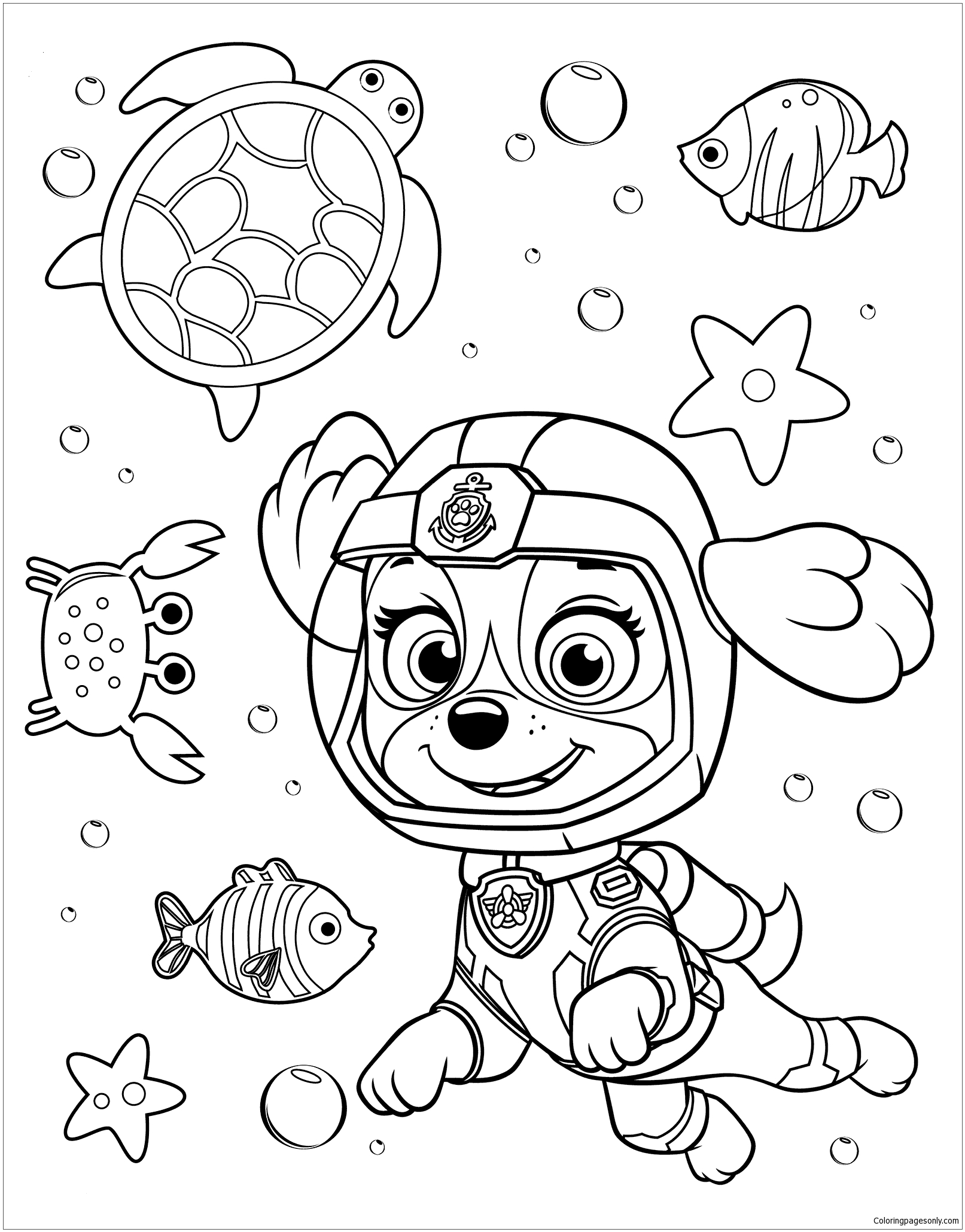 Paw Patrol Rubble Underwater 2 Coloring Page Free