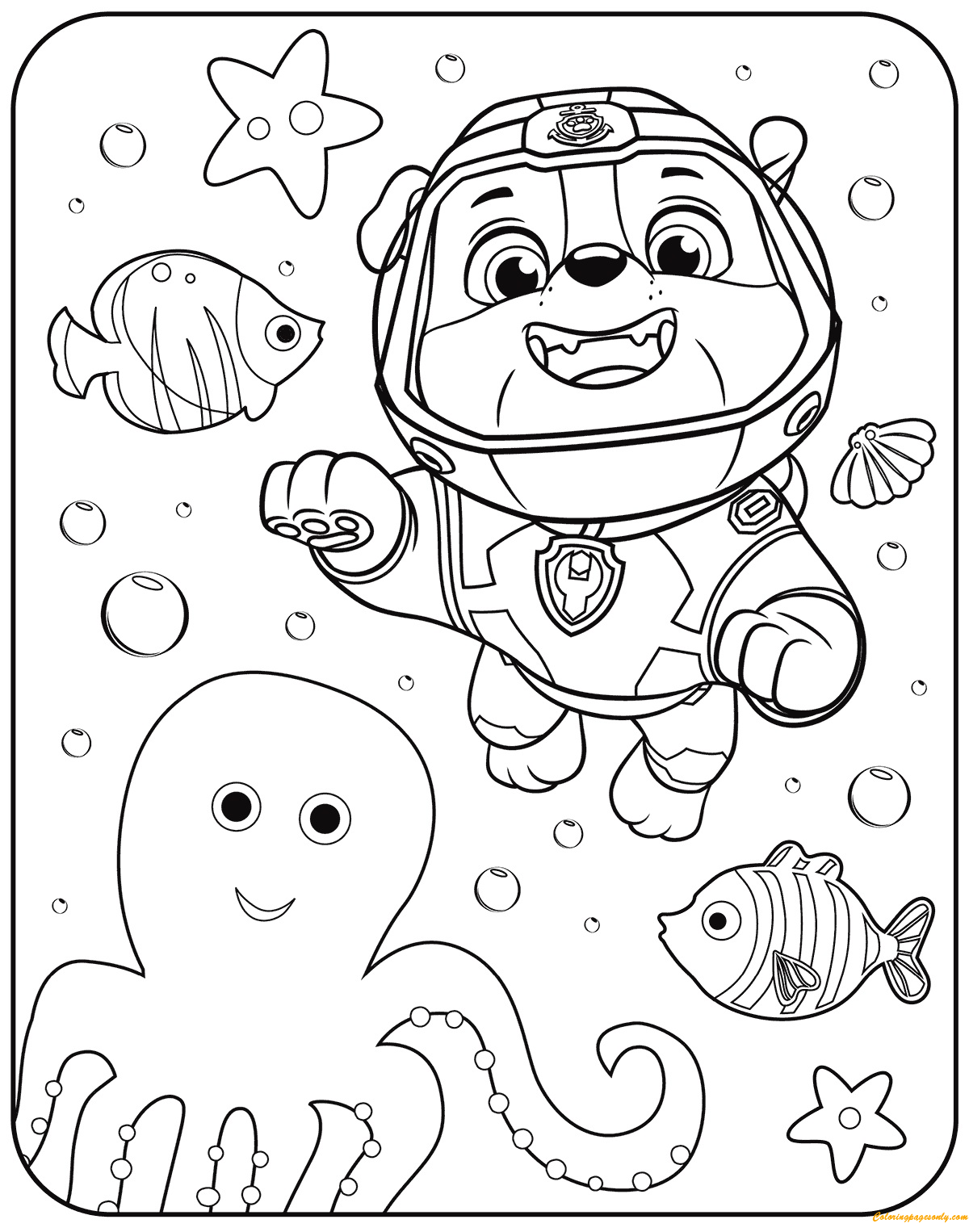 Paw Patrol Rubble Underwater Coloring Pages Cartoons Coloring Pages Free Printable Coloring Pages Online