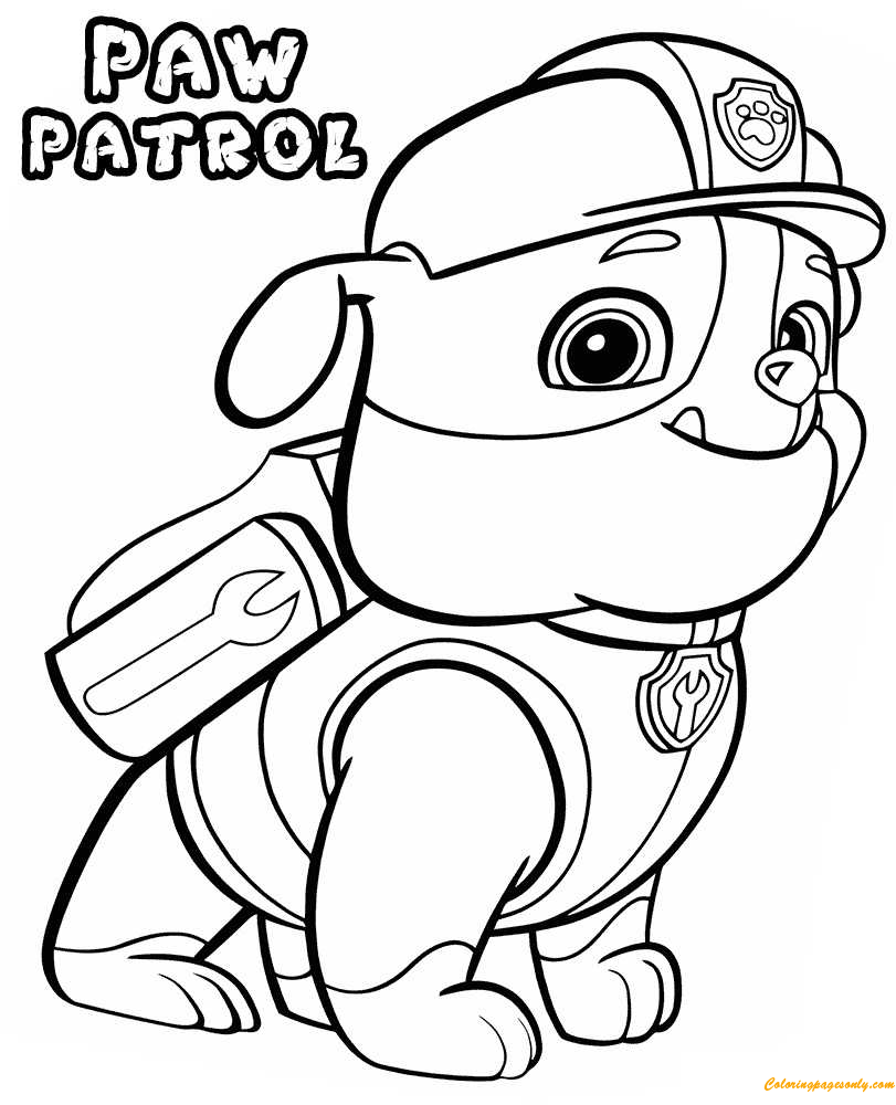 Paw Patrol Rubble Coloring Page - Free Coloring Pages Online