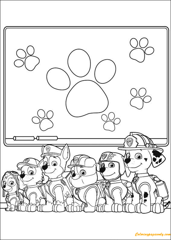 Paw Patrol School Learning Stuff Coloring Page