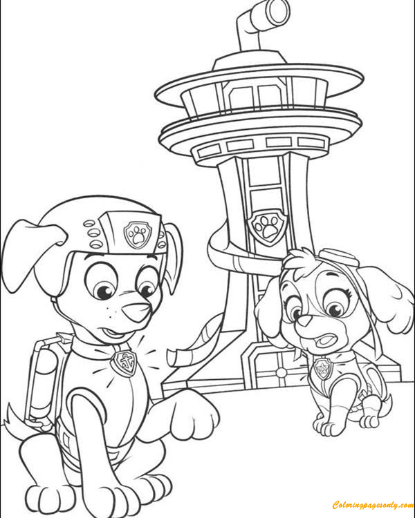 Paw Patrol Skye And Zuma Behind A Tower Coloring Pages - Cartoons Coloring  Pages - Free Printable Coloring Pages Online