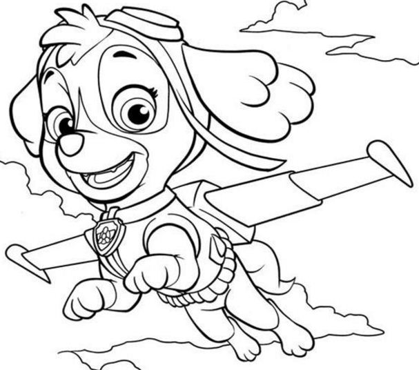 Paw Patrol Skye Is Flying Coloring Page