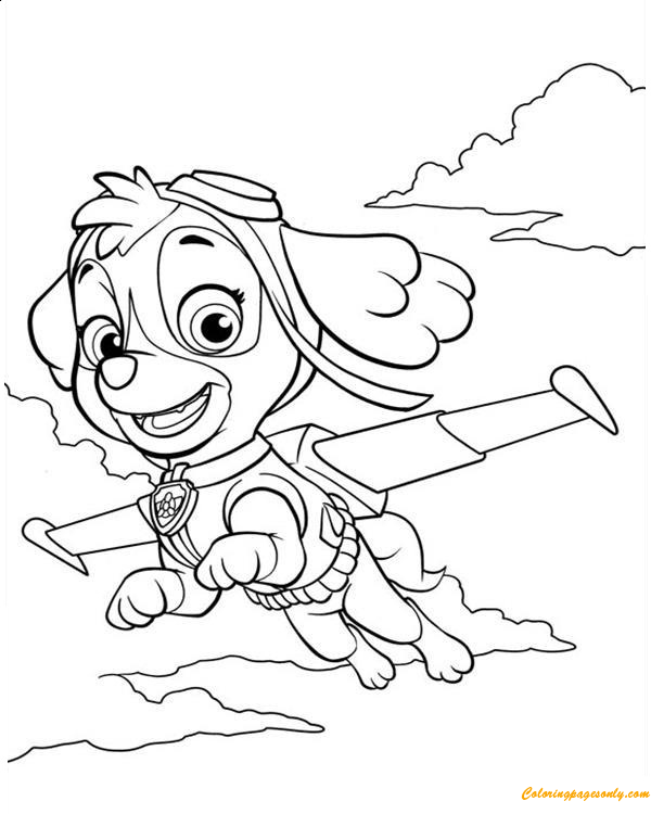Paw Patrol Skye Is Flying Coloring Page - Free Coloring ...