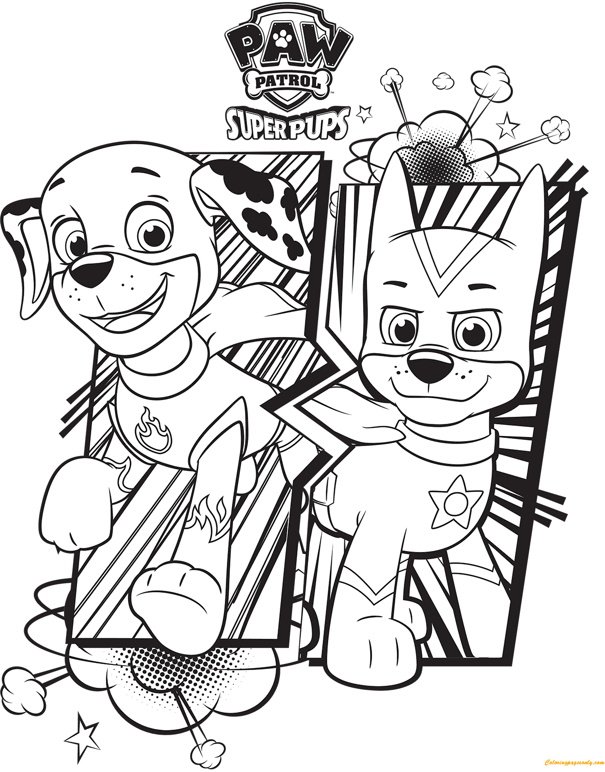 Paw Patrol Super Pups Chase And Marshall Coloring Page ...