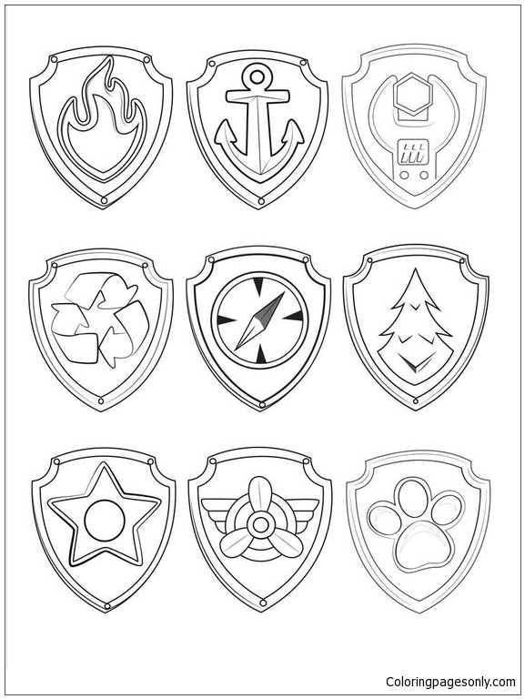 Paw Patrol Symbols Coloring Page