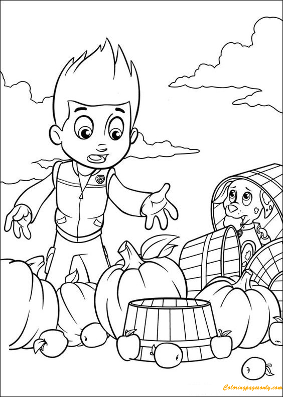 Paw Patrol With Fruit Coloring Page