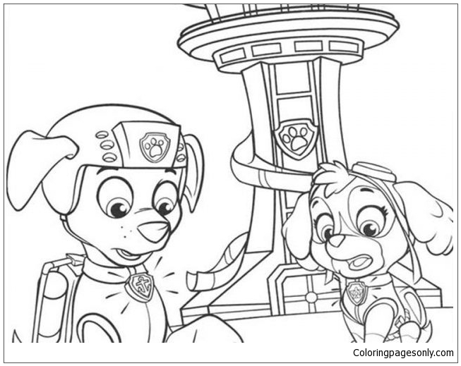 Paw Patrol Zuma And Sky Coloring Page