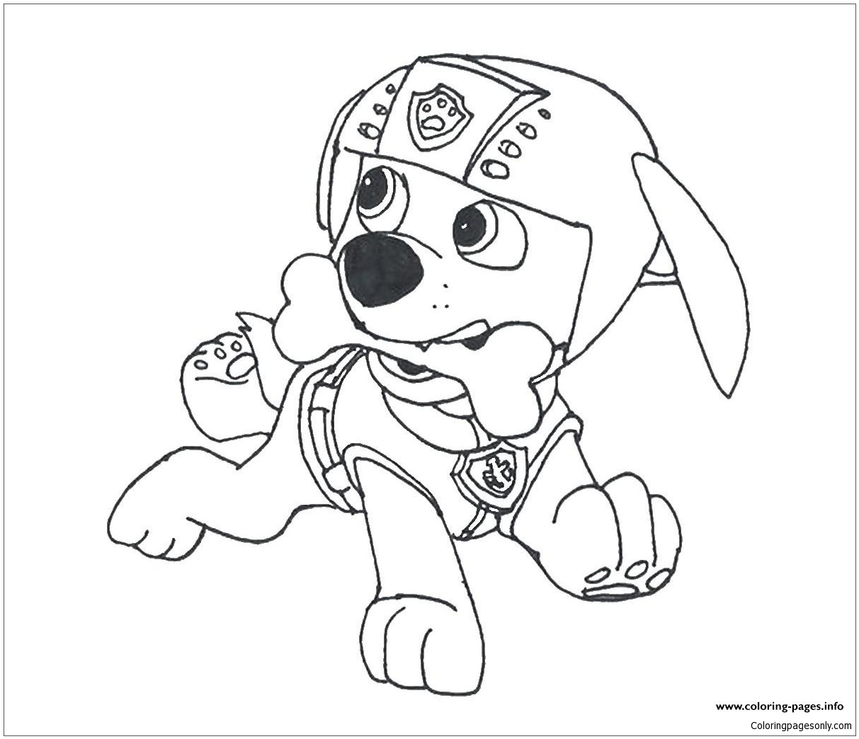 Paw Patrol Zuma With A Bone Coloring Page - Free Coloring Pages Online