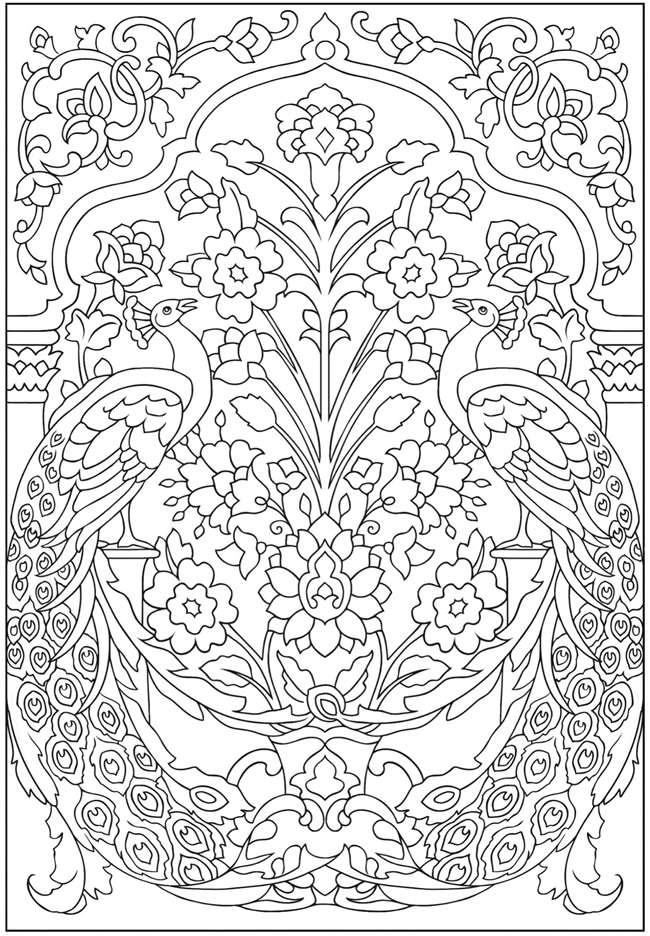 Peacocks with Flower Pattern Coloring Page