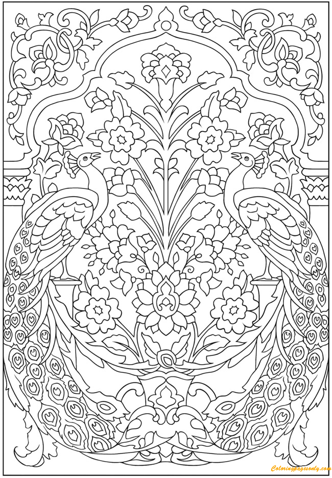 Peacocks with Flower Pattern Coloring Page - Free Coloring ...