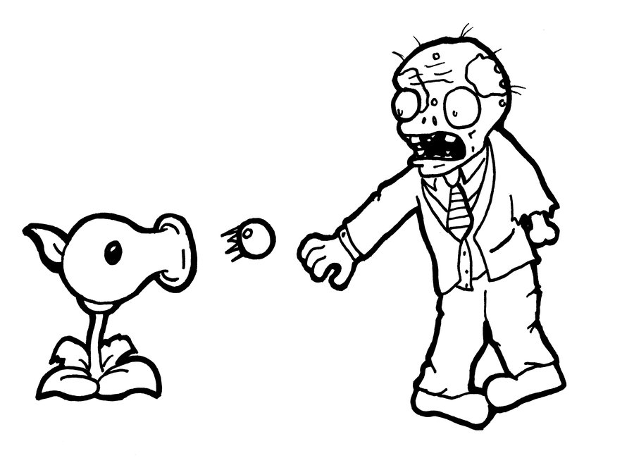 Peashooter vs Basic Zombie Coloring Page
