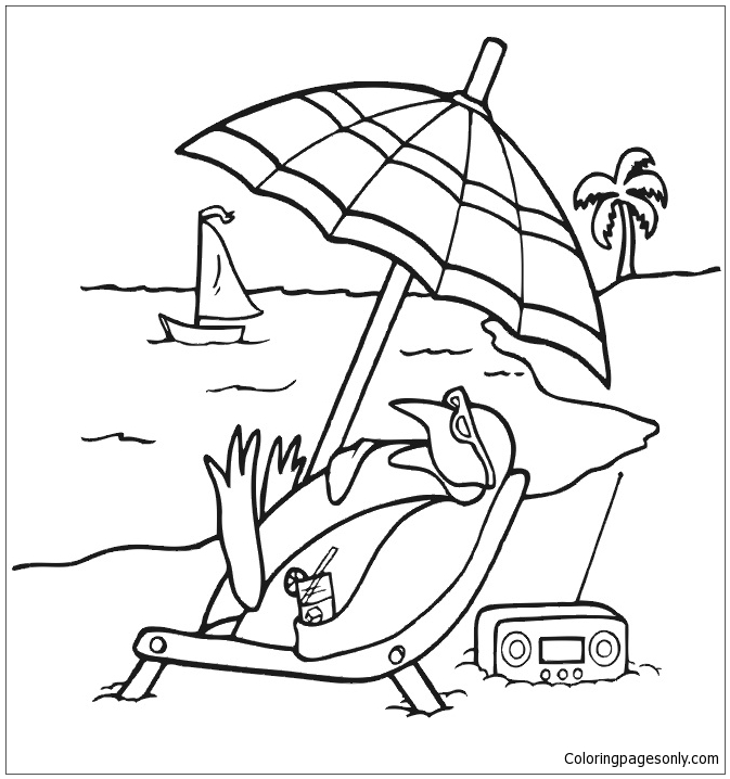 Penguin Sunbathing At Beach Coloring Page