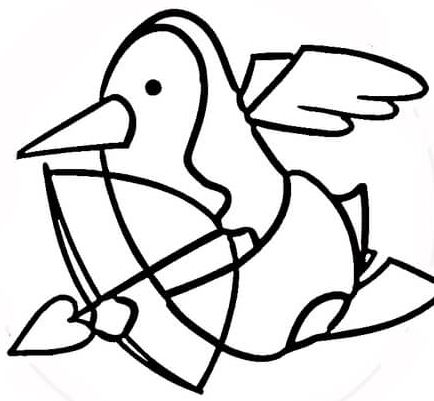 Penguin the Cupid Coloring Page