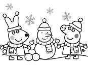 Peppa And Rebecca Are Making Snowman Coloring Page