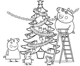 Peppa Pig Christmas Tree Coloring Page