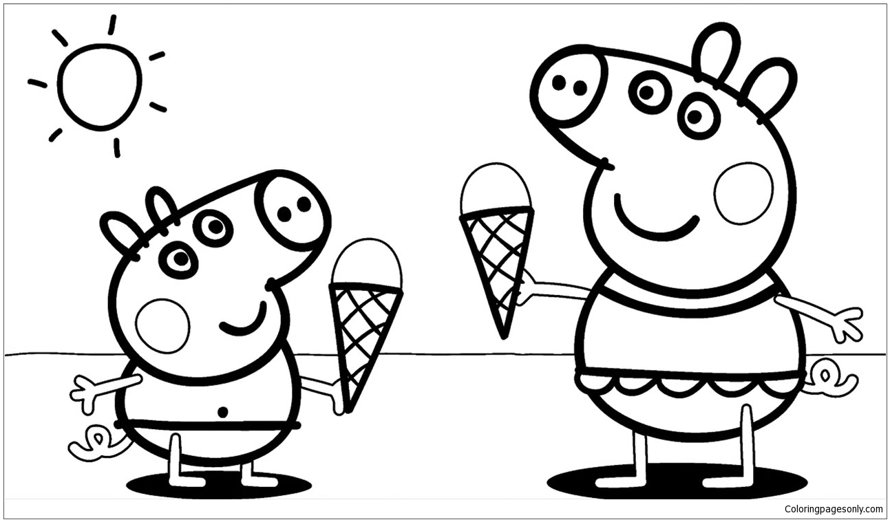 Peppa Pig with Ice Cream Coloring Pages - Food Coloring Pages - Free  Printable Coloring Pages Online
