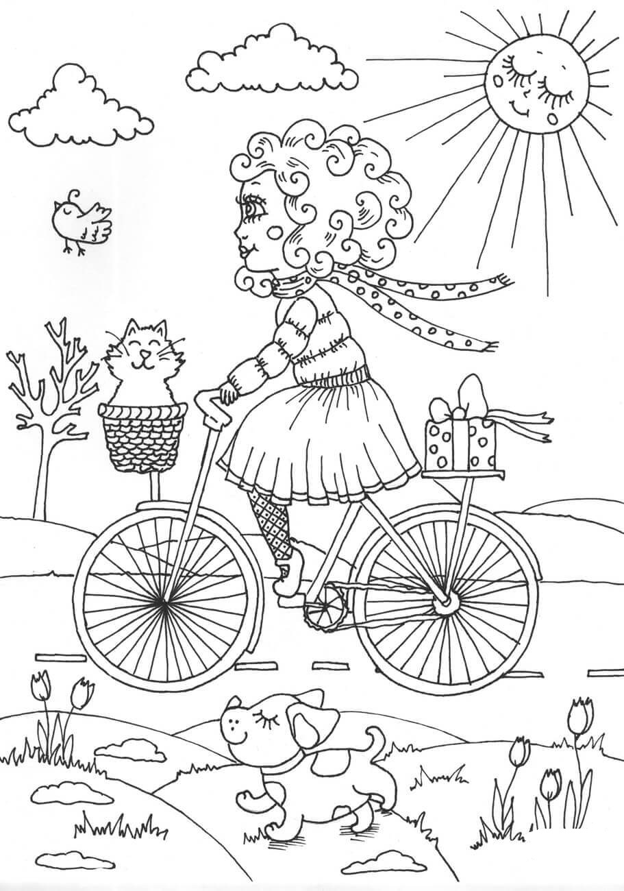 Peppy Walking in April Coloring Page