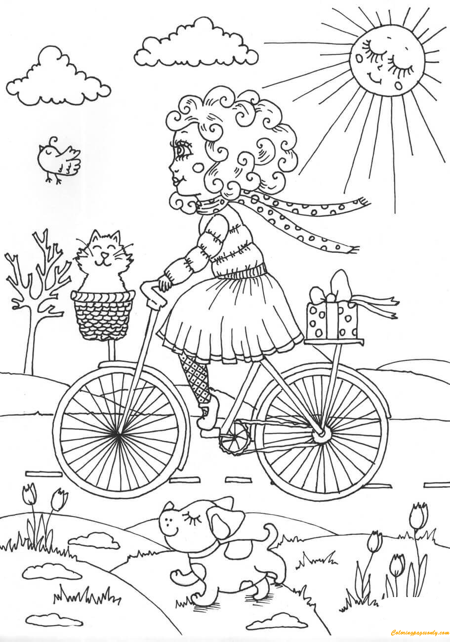 Free coloring pages for april - Peppy Walking In April Coloring Page