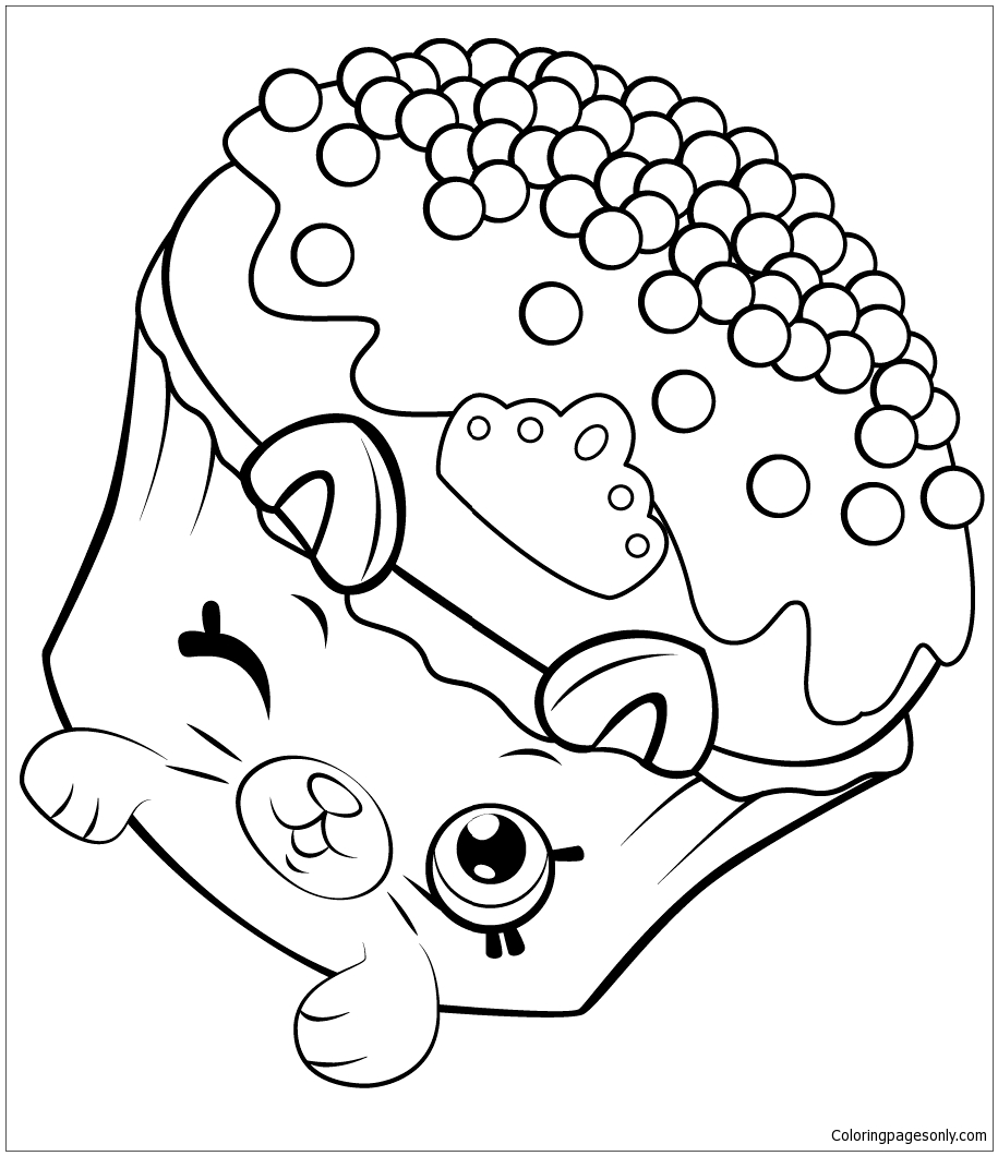 Petkins Royal Cupcake Shopkins Coloring Page