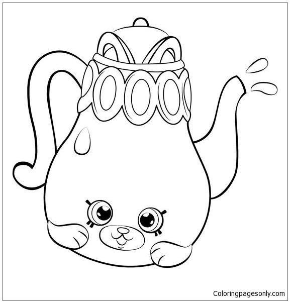 Petkins Tea Pot Shopkins Coloring Page