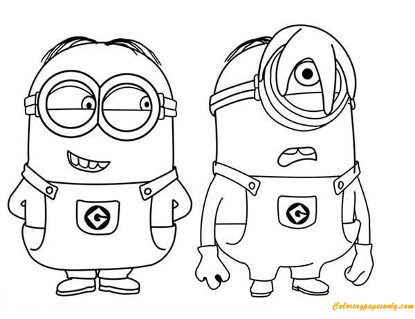 Phil And Stuart The Minion Coloring Page - Free Coloring Pages Online