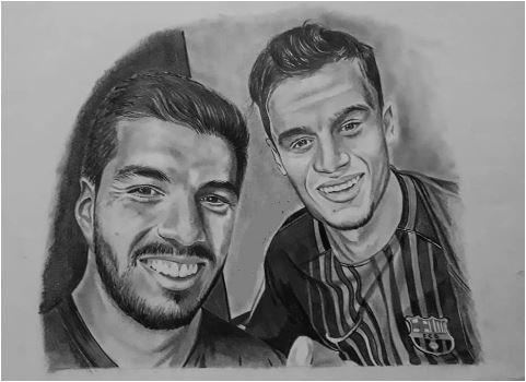 Philippe Coutinho & Luis Suárez Coloring Page