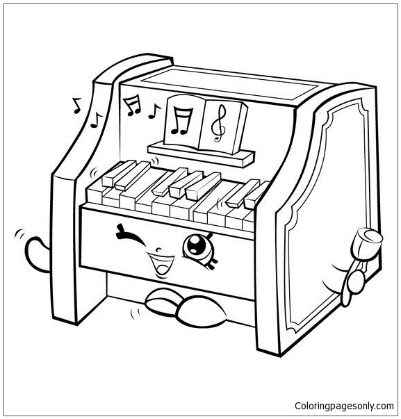 Piano Shopkins Coloring Page
