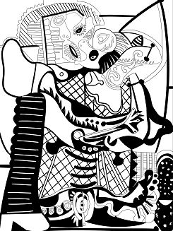 Picasso The Kiss Coloring Page