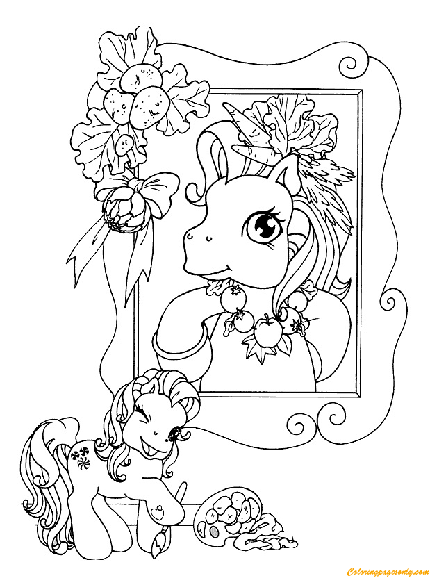 Picture Of Pony In Frame Coloring Page
