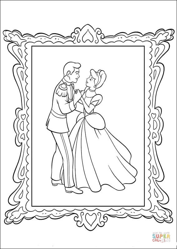 Picture Of The Prince And Cinderella  From Cinderella Coloring Page