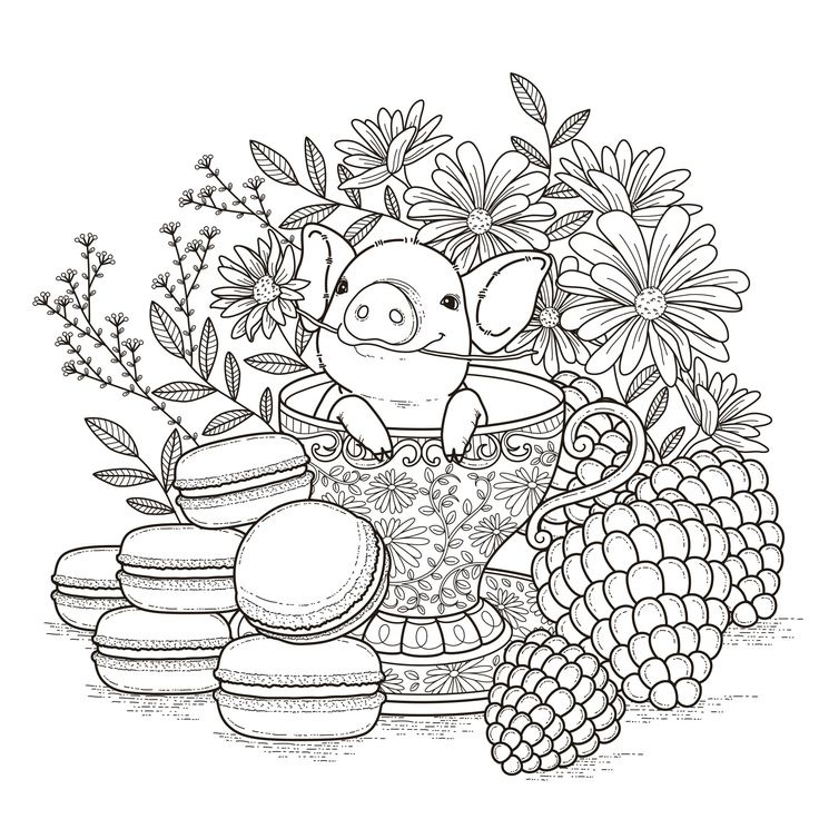 Pig in a Tea Cup And A Flower Coloring Page