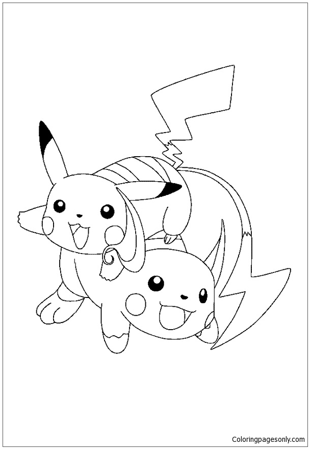 Pikachu And Raichu Coloring Page Free Coloring Pages Online