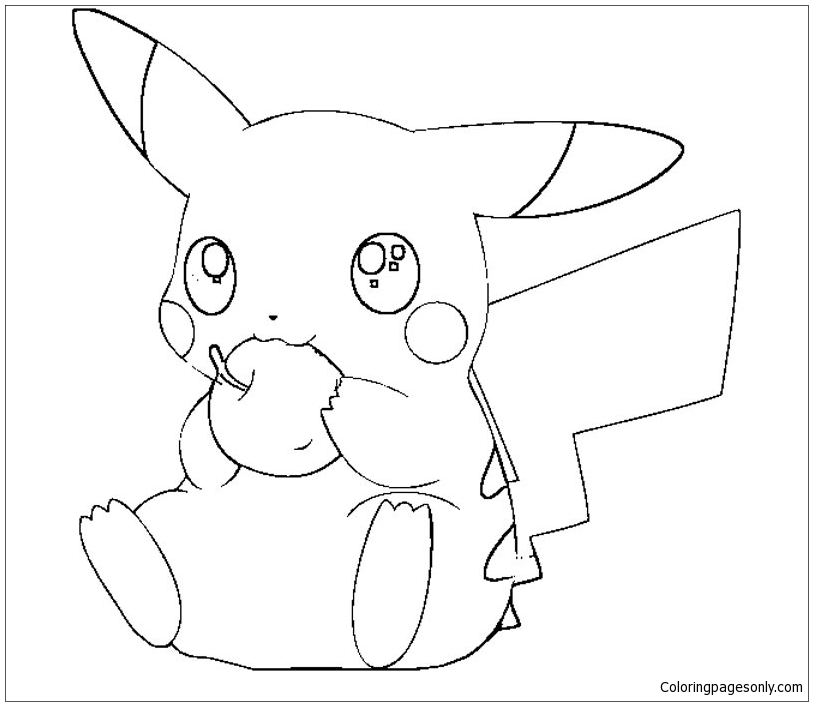 Pikachu Eating Apple Coloring Page