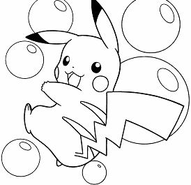 Pikachu Playing Bubbles Coloring Page