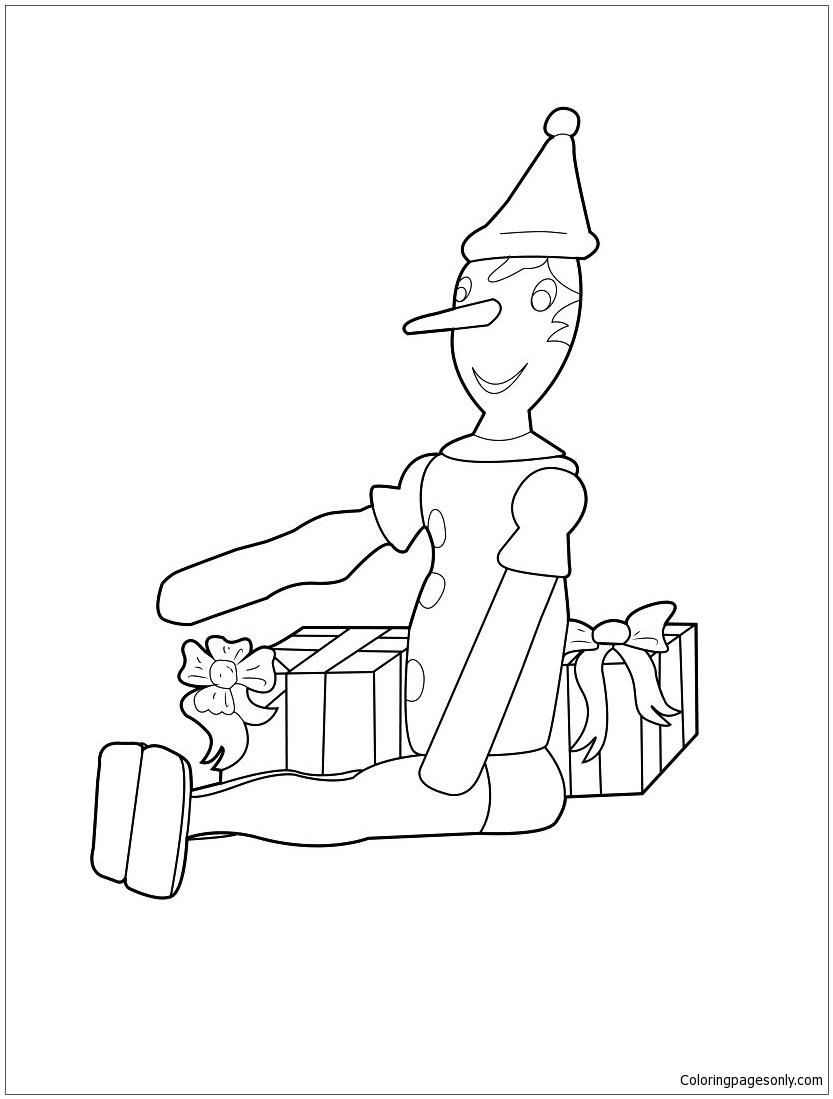 Pinocchio Christmas Coloring Page