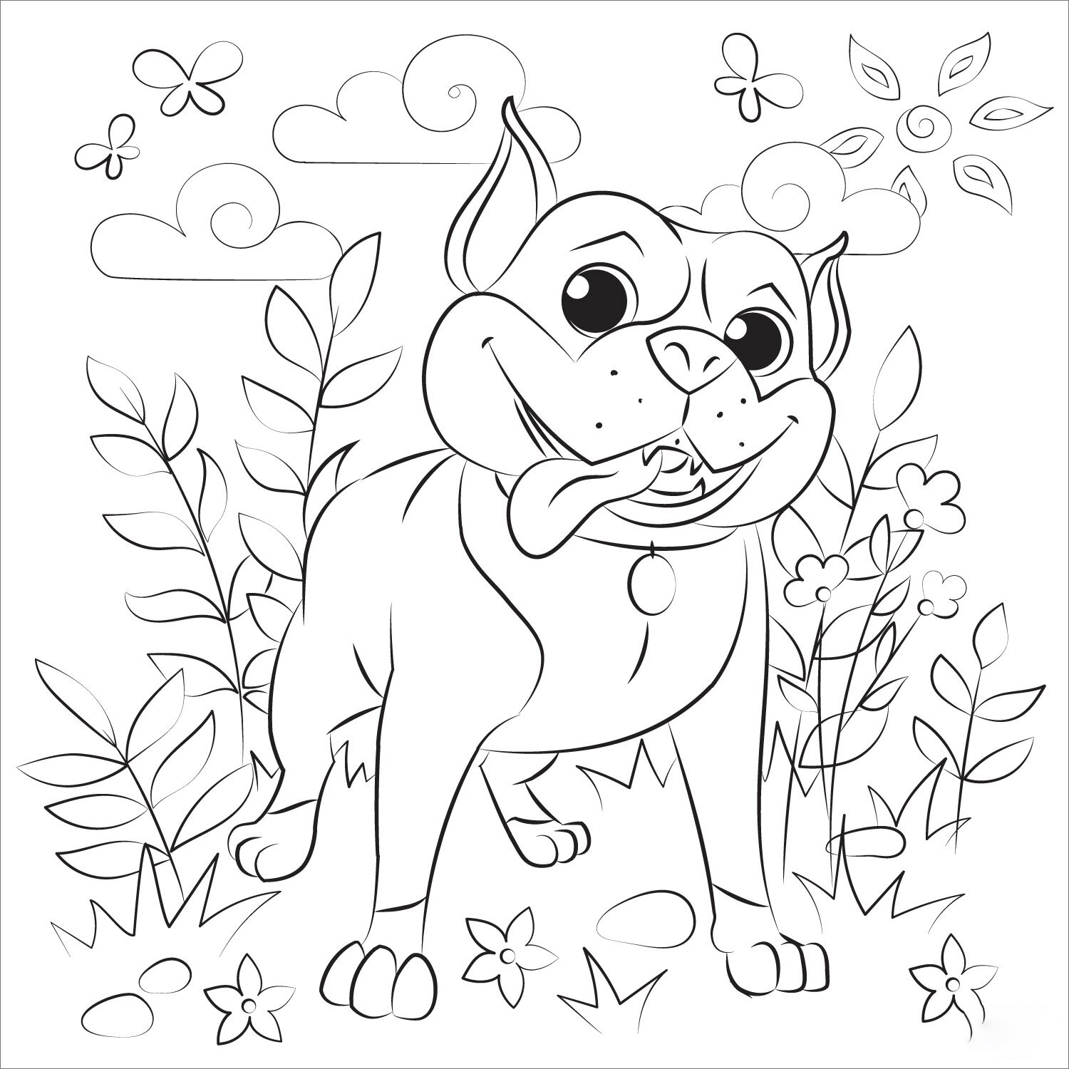 Small Pitbull Coloring Page