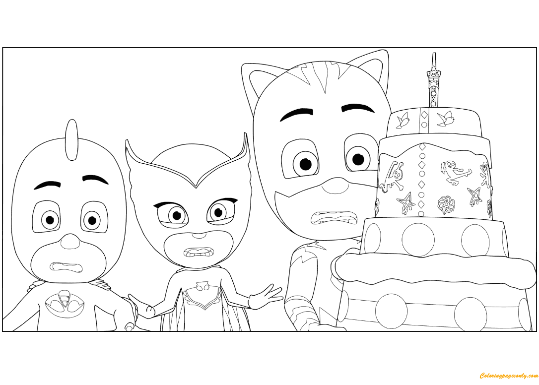 Pj Masks Birthday Cake Coloring Page Free Coloring Pages