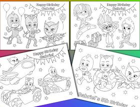 PJ Masks Birthday Party Favor Coloring Page