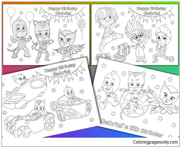 PJ Masks Birthday Party Favor Coloring Pages - PJ Masks Coloring Pages -  Free Printable Coloring Pages Online