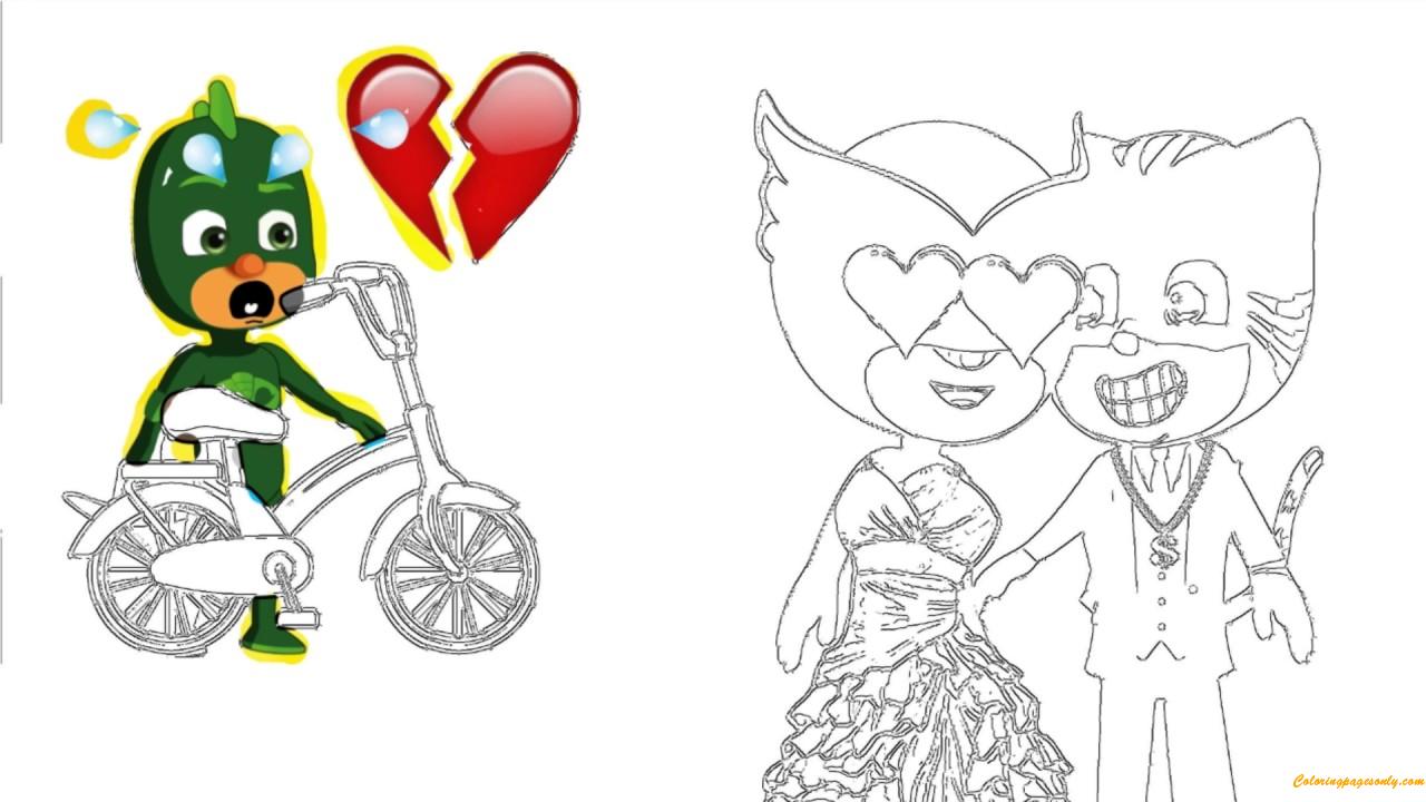 Pj Masks Catboy Love Owlette Coloring Page