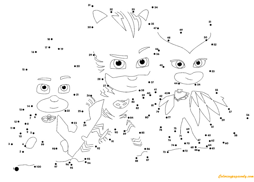 PJ Masks Connect The Dots Coloring Page - Free Coloring Pages Online