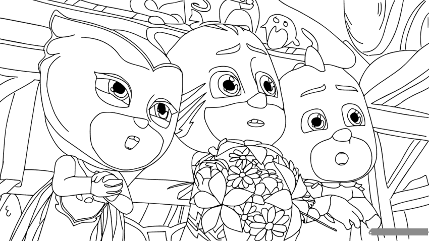 Pj Masks Gang Tensed Coloring Page Free Coloring Pages Online